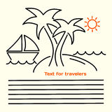 Linjär bild för vektor av broschyrer för turister med bilden av en ö med palmträd, yachter, havsvågor, den orange solen och plac Royaltyfri Foto