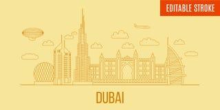 Linjär Dubai stadshorisont Vektorlinje konststil panorama- Dubai Byggnader som är customizible och avskiljs Royaltyfria Foton