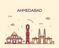 Linjär illustration för Ahmedabad horisontvektor Arkivbild