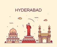 Linjär illustration för Hyderabad horisontvektor Fotografering för Bildbyråer