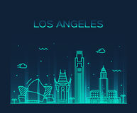 Linjär illustration för Los Angeles horisontvektor vektor illustrationer