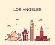 Linjär illustration för Los Angeles horisontvektor stock illustrationer