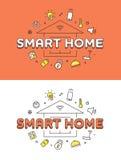 Linjär illustration för vektor lägenhetSmart för hem- system stock illustrationer