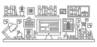 Linjär kontorstabell med datorworkspace och annan inre illustration för utrustning i regeringsställning Gör linjen rengöringsdukb vektor illustrationer