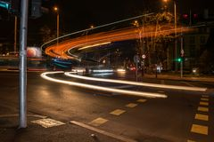 Linjär ljus effekt av en stadsbuss part2 Royaltyfria Bilder
