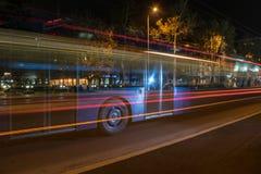 Linjär ljus effekt av en stadsbuss part3 Royaltyfria Bilder