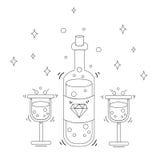 Linjär minimalistic stilfull champagnesymbol Fotografering för Bildbyråer