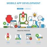 Linjär plan infographics för mobilapp-utveckling oss royaltyfri illustrationer