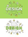 Linjär plan uppsättning för vektor för website för DESIGNblyertspennasymboler vektor illustrationer