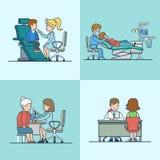 Linjär plan utrustning för terapeutneurologitandläkare stock illustrationer