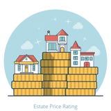 Linjär plan vektor för värdering för pris för husmyntgods royaltyfri illustrationer