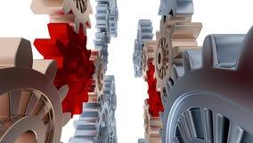Linjär ritt mellan vänstra och högra silverkugghjul och små röda kugghjul lager videofilmer