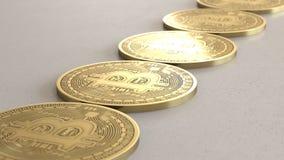 Linjär samling av guld- Bitcoins på en ljusa Gray Surface stock illustrationer