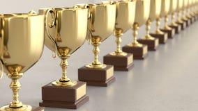 Linjär samling av guld- Trophys på en ljusa Gray Surface vektor illustrationer