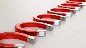 Linjär samling av röda magneter på en ljusa Gray Surface Royaltyfri Illustrationer