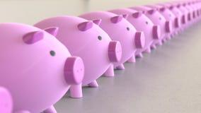 Linjär samling av rosa Piggybanks på en ljusa Gray Surface Royaltyfri Illustrationer