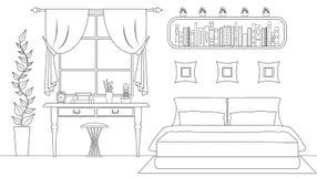 Linjär sovruminre för vektor stock illustrationer