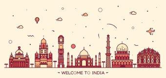 Linjär stil för indisk horisontvektorillustration vektor illustrationer