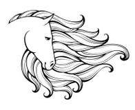 Linjär stiliserad häst Svartvitt diagram Vektorillustrationen kan användas som designen för tatueringen, t-skjortan, påsen, affis stock illustrationer