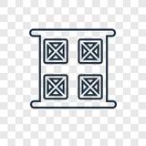 Linjär symbol för årsbegreppsvektor som isoleras på genomskinlig backgrou stock illustrationer