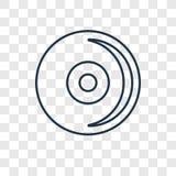 Linjär symbol för CD-SKIVAbegreppsvektor som isoleras på genomskinligt stock illustrationer