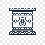 Linjär symbol för Egypten begreppsvektor som isoleras på genomskinlig backgro stock illustrationer
