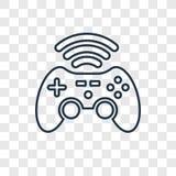 Linjär symbol för Gameplay begreppsvektor som isoleras på genomskinlig baksida stock illustrationer