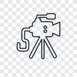 Linjär symbol för gammal videokamerabegreppsvektor som isoleras på transpar stock illustrationer
