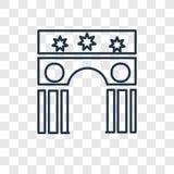Linjär symbol för gränsmärkebegreppsvektor som isoleras på genomskinlig baksida royaltyfri illustrationer