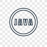 Linjär symbol för Java begreppsvektor som isoleras på genomskinlig backgrou vektor illustrationer