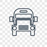 Linjär symbol för skolbussbegreppsvektor på genomskinliga lodisar royaltyfri illustrationer