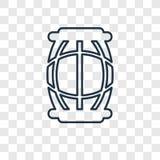 Linjär symbol för stor trummabegreppsvektor som isoleras på genomskinliga lodisar stock illustrationer
