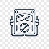 Linjär symbol för voltmeterbegreppsvektor på genomskinlig bac royaltyfri illustrationer