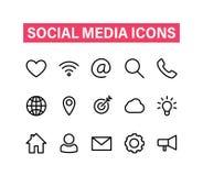 Linjär symbolsuppsättning för socialt massmedia Symboler för affären, bankrörelse, kontakt, socialt massmedia, teknologi, seo Lin royaltyfri illustrationer