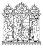 Linjär teckning av födelse av den Jesus Christ platsen i gotisk ram stock illustrationer