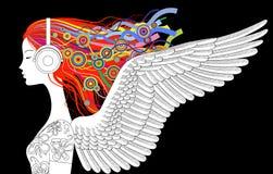 Linjär teckning av flickahuvudhalva-framsidan med vingar, lösa mummel för färg Arkivbild