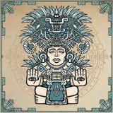 Linjär teckning: dekorativ bild av en forntida indisk gud royaltyfri illustrationer