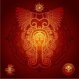 Linjär teckning: dekorativ bild av en forntida indisk gud mystisk cirkel Arkivbild