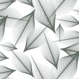 Linjär vektormodell som upprepar abstrakta sidor, grå färglinjen av bladet eller blomman som är blom- grafisk ren design för tyg, stock illustrationer