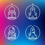 Linjära kyrkasymboler för vektor Arkivbilder