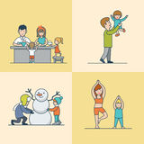 Linjära plana övningar för idrottshall för familjkocksnögubbe royaltyfri illustrationer