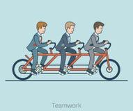 Linjära plana affärsmän rider cykelvektoraffär Royaltyfria Foton