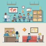 Linjära plana klienter för ställe för arbete för affärsfolk royaltyfri illustrationer