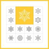 Linjära snöflingor Stock Illustrationer