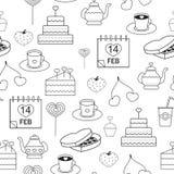 Linjära stilsymboler för sömlös modell som är gråa på en vit bakgrund bakelser som dekoreras med hjärtor för valentin dag Royaltyfri Foto