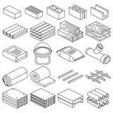Linjära symboler för byggnads- och konstruktionsmaterialvektor stock illustrationer