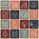 Linjära symboler för grafisk design vektor illustrationer