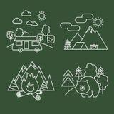 Linjära symboler för skogaktivitet Parkerar den tunna linjen djurliv för vektorn och landskap med björnen vektor illustrationer