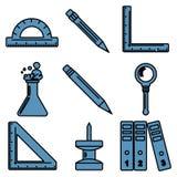 Linjära symboler för svart skolagods Del 3 Royaltyfria Bilder