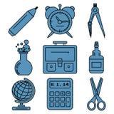 Linjära symboler för svart skolagods Del 1 Royaltyfri Foto